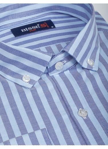 Bisse BGM19K19508 Slim Fit Çizgili Gömlek Mavi